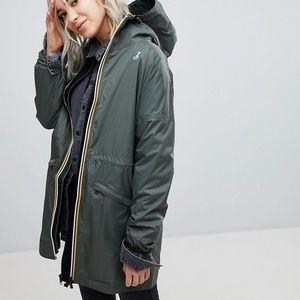 K-Way Eiffel 3.0 Grey Packable Long Rain Coat